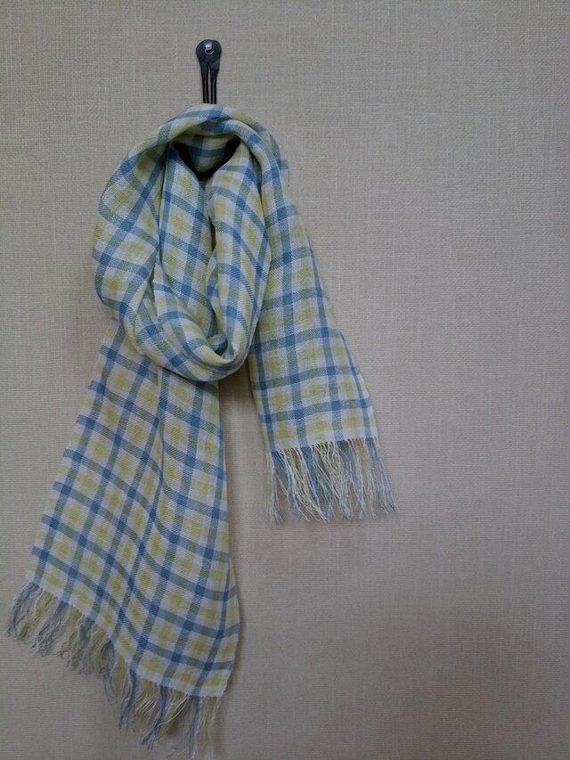 手織りストール ~草木染・麻~の画像1枚目