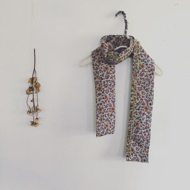 小さな花柄☆ボンボン襟巻(ot-k-063)の画像1枚目