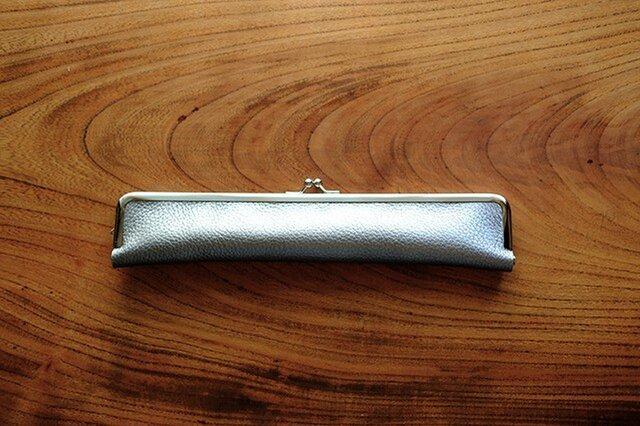 紳士用24cmがま口扇子ケース/シルバーレザー/本革の画像1枚目