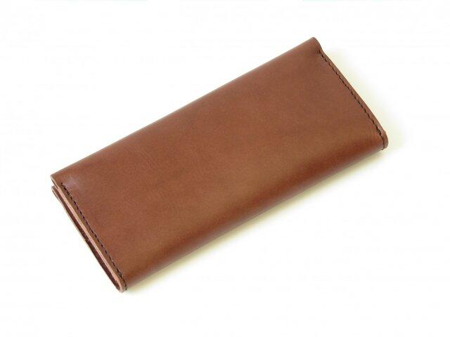 米国産植物なめし革 シンプル長財布(タバコ)の画像1枚目