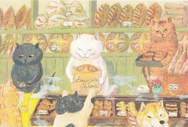 カマノレイコ オリジナル猫ポストカード「ブランジェリー」2枚セットの画像1枚目