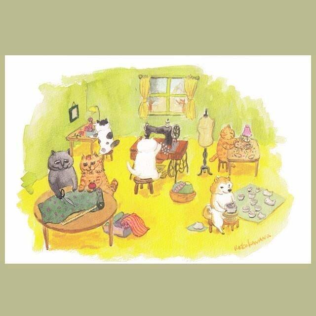 カマノレイコ オリジナル猫ポストカード「制作の時間」2枚セットの画像1枚目