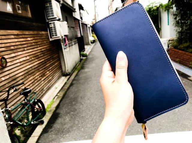 【送料無料】色を楽しむ使えるお財布!「ラウンドジップ 長財布」スマホもOK!受注生産(RZW-NTYR-CNY-H)Ⅱの画像1枚目