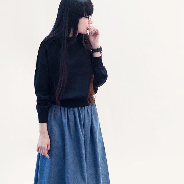 年間OK! 岡山デニム セルビッチ シャンブレー 水色 ロングスカート ライトブルー ●MARGARET●の画像1枚目