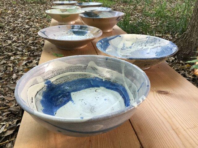 藁灰釉とコバルトの流れ 大鉢の画像1枚目