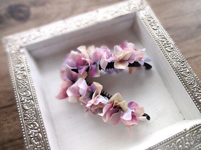 紫陽花のバナナクリップ■マーブル色 モーブの画像1枚目
