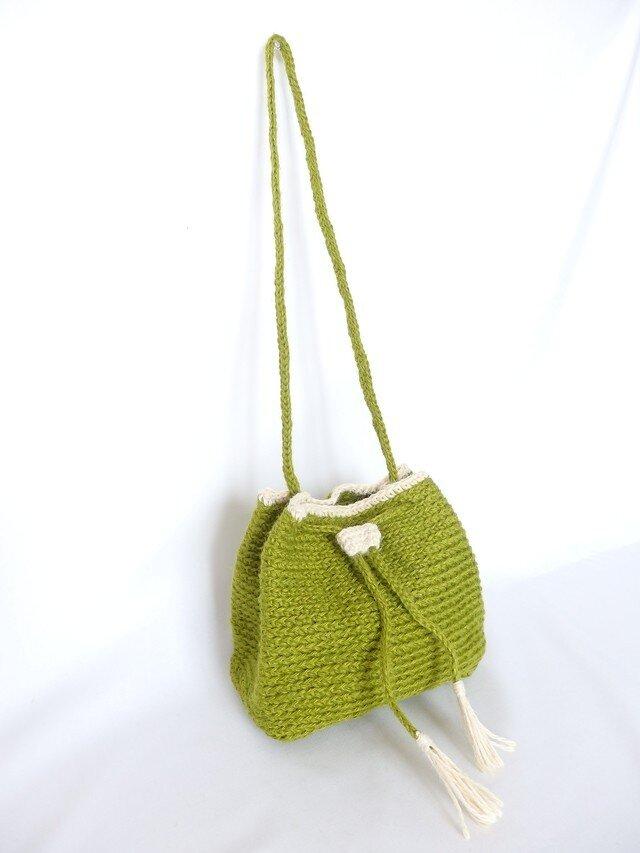 若草色のジュート巾着ショルダーバッグの画像1枚目