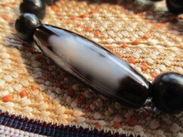 至純 弁財天天珠 大黒天天珠 ミャンマー翡翠総お組み上げブレスレットの画像1枚目