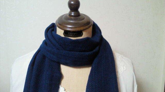木綿100%手織りストール(藍染め)の画像1枚目
