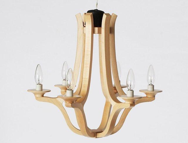 木のシャンデリア Wooden Chandelier 木製の照明の画像1枚目