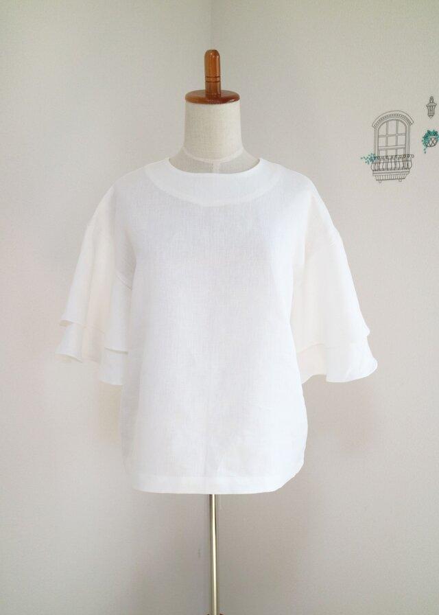 新作【ホワイト】リネン100%フレアスリーブプルオーバー♥の画像1枚目