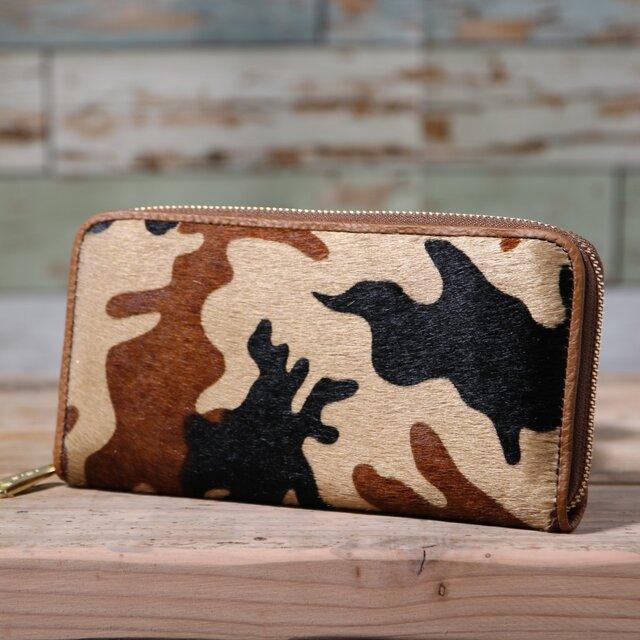 イタリア産 毛付き牛革 迷彩 ベージュ 長財布 ラウンドファスナー 牛革 皮 ハンドメイド 手作りの画像1枚目