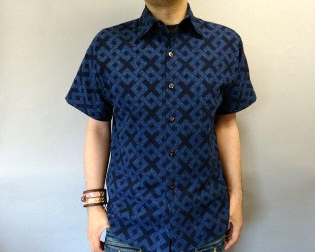 吉兆藍木綿半袖シャツ(六弥太格子)の画像1枚目