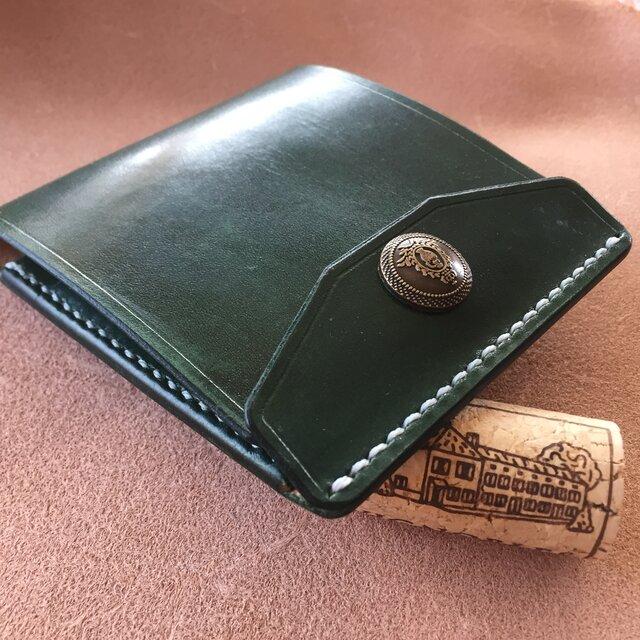 【右開口カードポケット2 Dグリーン クラウン】薄型シンプル札ばさみ MC-08c マネークリップ ヌメ革の画像1枚目
