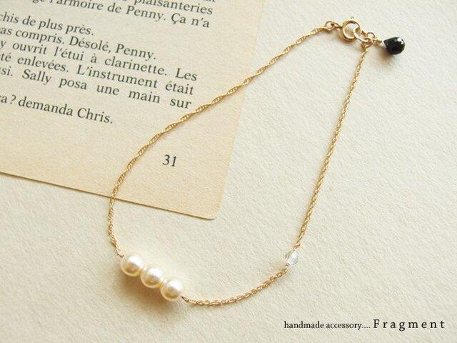French Vintage Pearl*スワロフスキー*オニキス K14gfブレスレットの画像1枚目