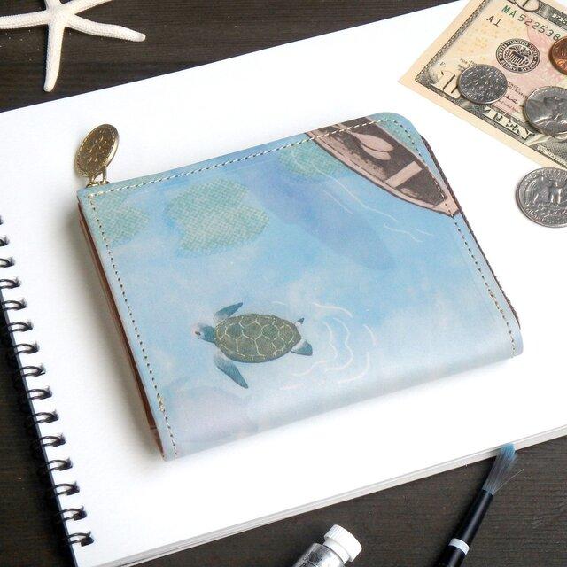 Lウォレット L字ファスナー 財布(ホヌ シュノーケリング)オールレザー 革  メンズ レディース ILL-1157の画像1枚目