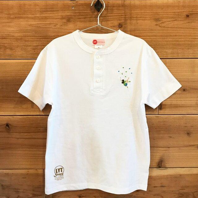 ボルダリング 刺繍 ヘンリーネックTシャツの画像1枚目
