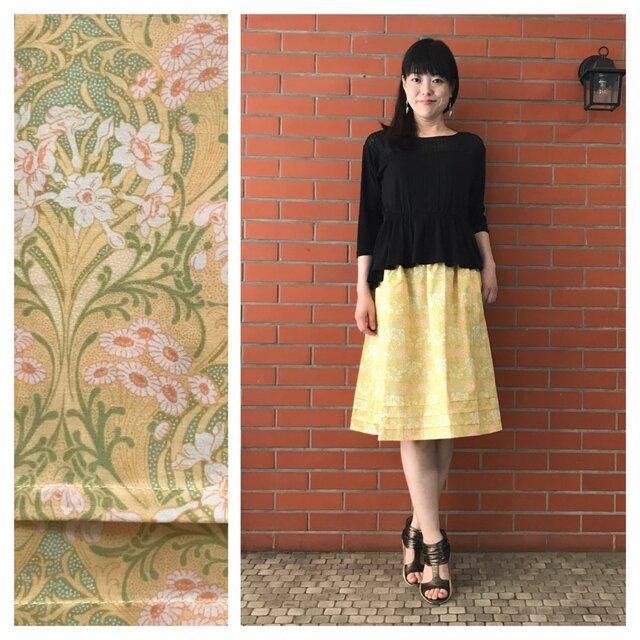 SALE!【ロングスカート屋さんなのに】ふんわり3段タックの膝丈スカート:60cm(ナルシスとデイジー:イエロー)の画像1枚目