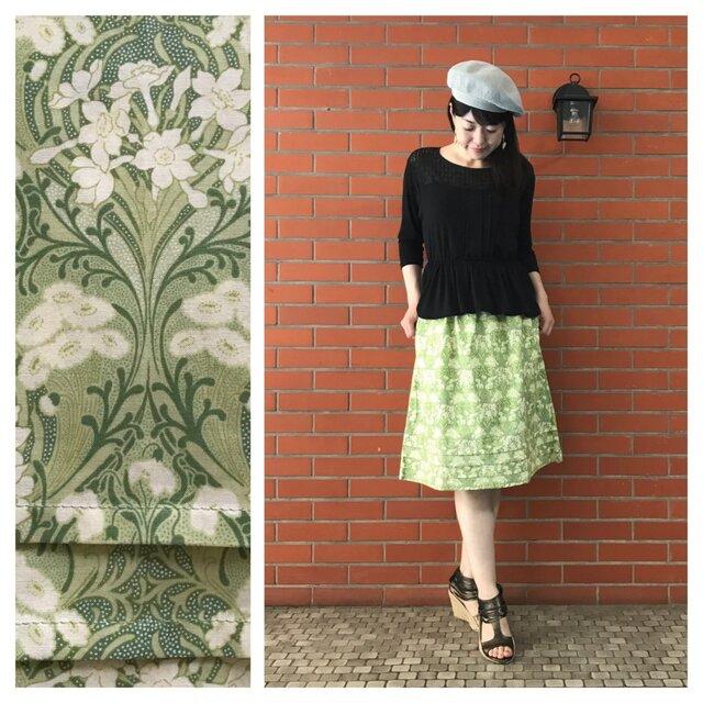 【ロングスカート屋さんなのに】ふんわり3段タックの膝丈スカート:60cm(ナルシスとデイジー:グラスグリーン)の画像1枚目