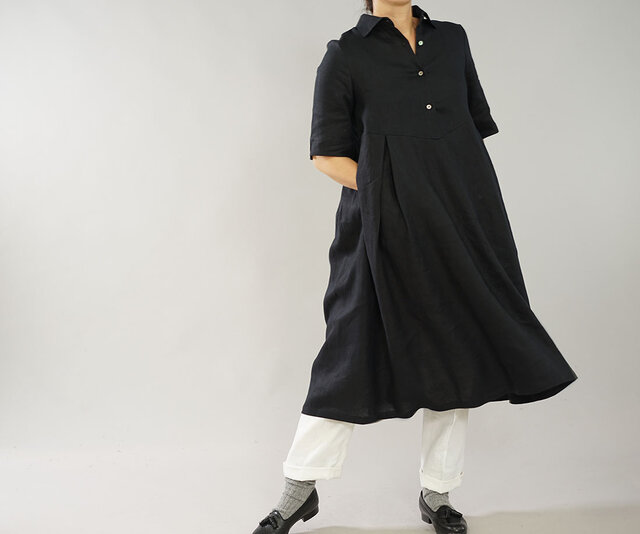 【wafu】中厚 リネンワンピース シャツドレス 5分袖 ミモレ丈 紐あり / ブラック a064b-bck2の画像1枚目