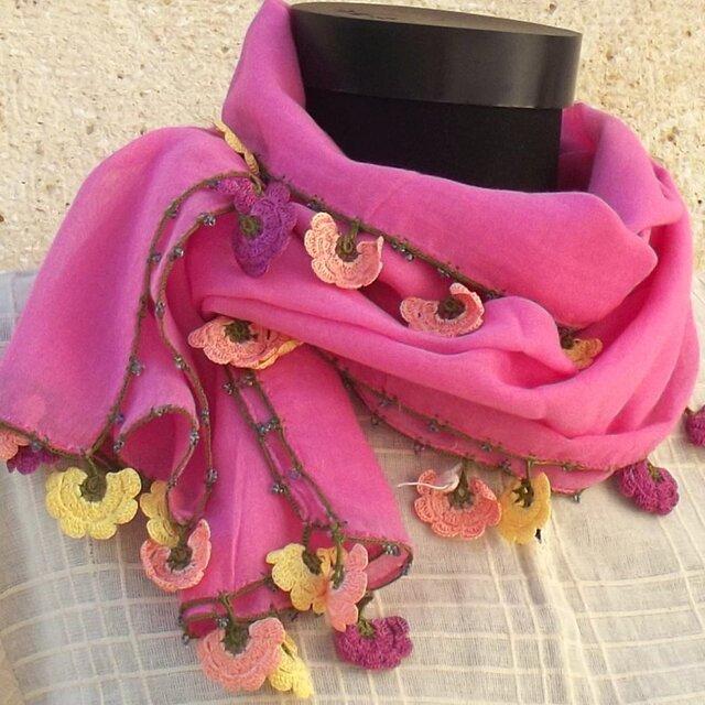 【SALE】4辺ぐるりとレースの花付き コットンストール ピンクの画像1枚目