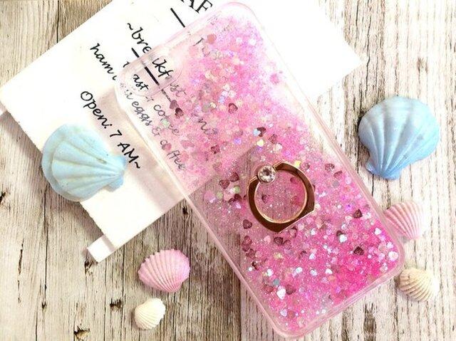 スワロフスキーリングつき♡美しい流砂 iphoneケース  ピンクの画像1枚目