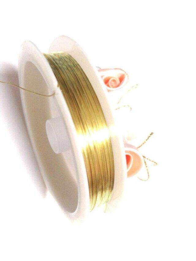 【パーツ】ゴールドカラー 真鍮線ワイヤー 約0.3mm(太さ色々あります)の画像1枚目