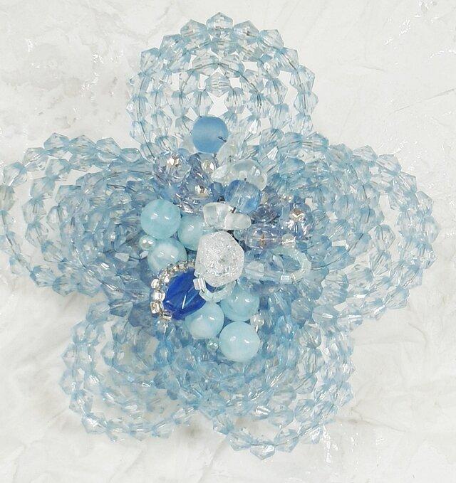 お花のコサージュ・ブローチ(紫陽花ブルー)の画像1枚目