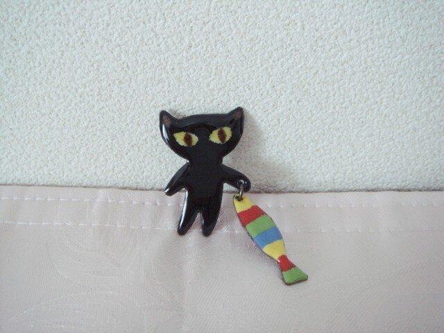 黒猫 しましまお魚いいでしょう♪の画像1枚目
