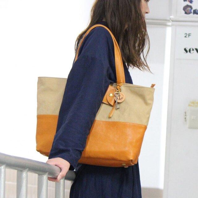 halb-タン(タンニン染め帆布×杤木レザートートバッグ)の画像1枚目
