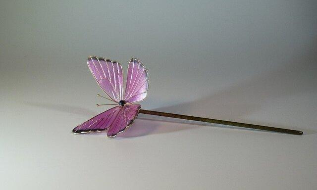 蝶の簪(ピンク) 一本ざしの画像1枚目