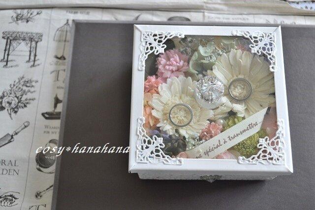 ガラスのレインボー花box*リングピローの画像1枚目