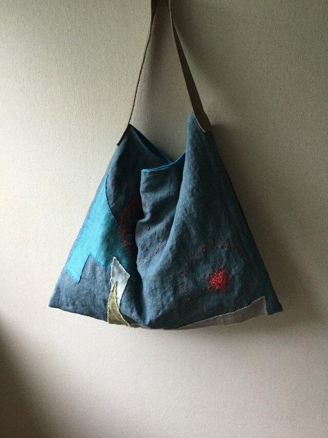 刺し子とコラージュのバッグの画像1枚目