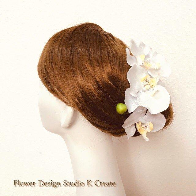 和装婚・神前式に♡純白の胡蝶蘭のヘッドドレス(5点セットの髪飾り)の画像1枚目