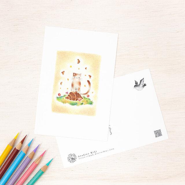 """5枚セット。絵本のような。ポストカード """"猫の子ニコのクロワッサン"""" PC-116の画像1枚目"""