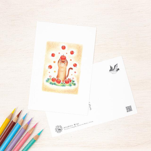 """5枚セット。絵本のような。ポストカード """"猫の子ネネのお昼ごはん"""" PC-141の画像1枚目"""