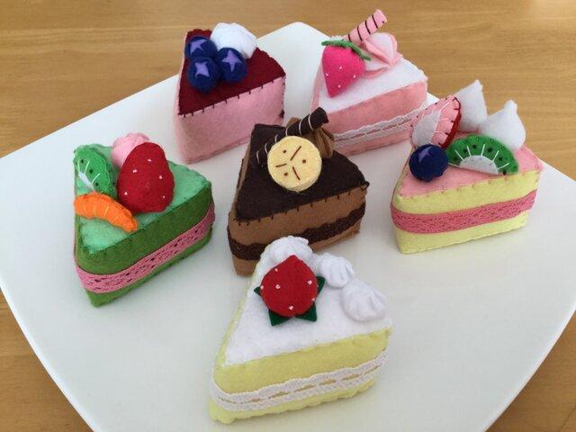 受注製作【フェルトままごと】**カラフルかわいい☆ケーキセット**の画像1枚目