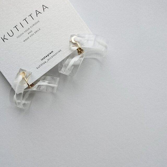送料無料 cycle earring/whiteの画像1枚目