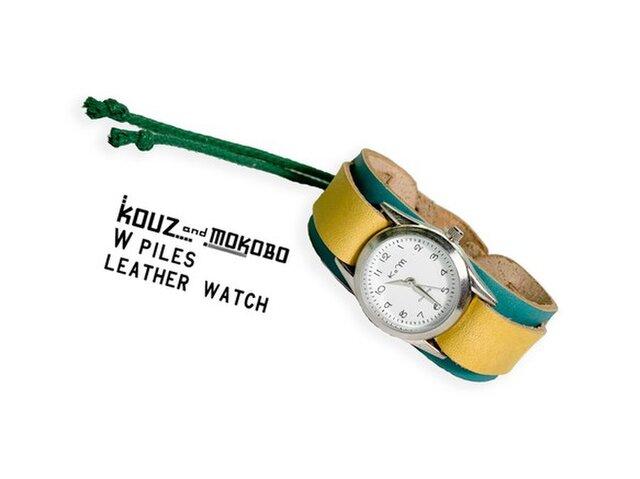 ▲WPILES キラキラポップ☆水色×黄色「Wパイルズ 腕時計」タラリン♪コード(WPW-TYW-G)の画像1枚目