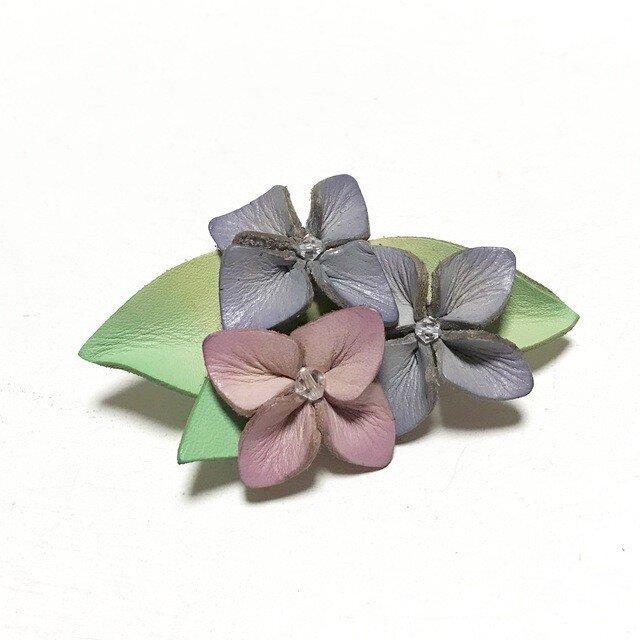 革の紫陽花ブローチの画像1枚目