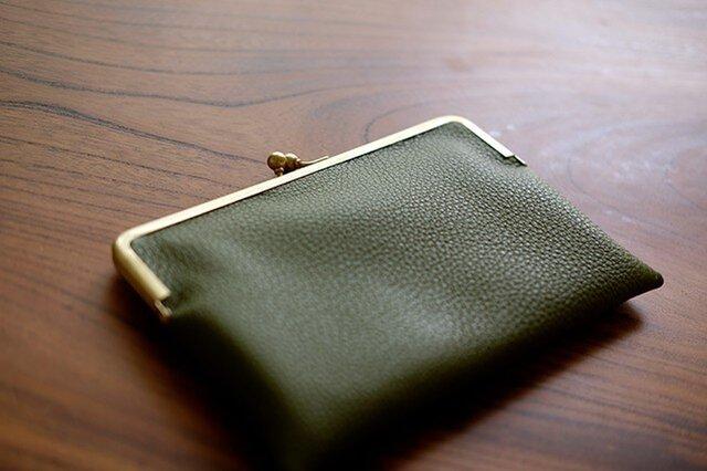 真鍮がま口通帳ケース/パスポート/母子手帳/お薬手帳ケース/オリーブグリーンの画像1枚目