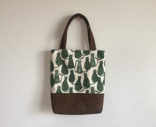 猫柄・帆布のミニトートバッグ ネコプリント バッグインバッグの画像1枚目