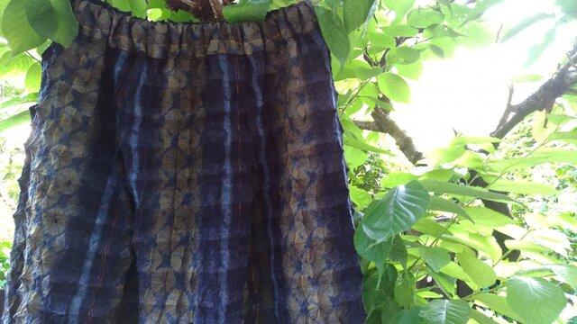 タータンチェック紬鬼絞り着物地(新反)タック入りギャザースカートの画像1枚目