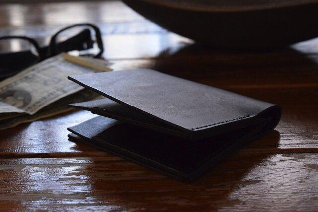 [受注生産品] 栃木レザー ハーフウォレット(BLACK) MNW-03の画像1枚目
