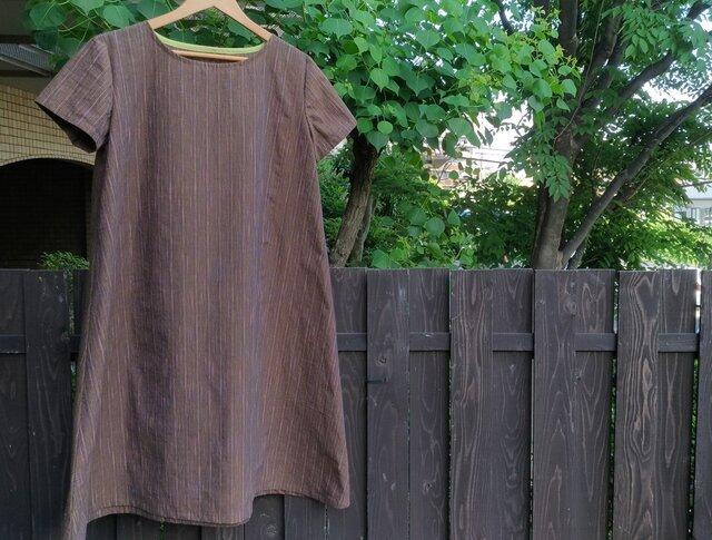 遠州綿紬(反物)茶色に七色のストライプ ふんわりAラインワンピースの画像1枚目