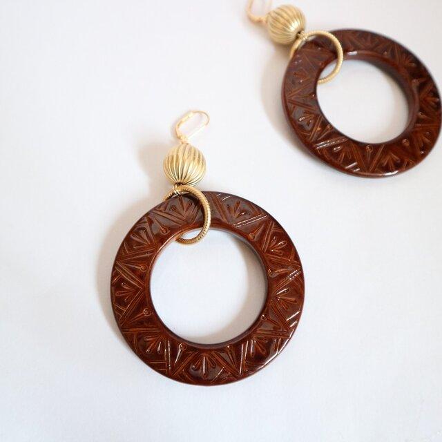 Big Ring Brown pierce(earring)の画像1枚目
