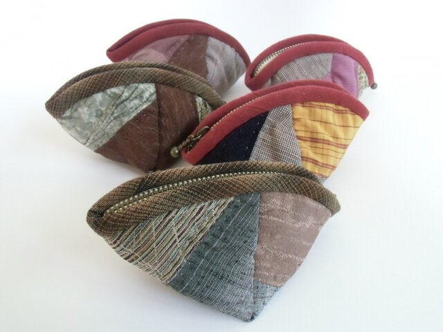 絹の紬織 パッチワークポーチ5個セット の画像1枚目