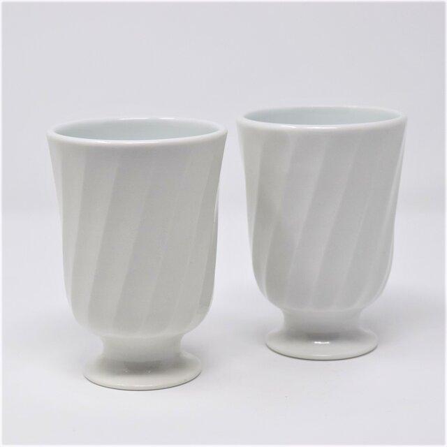 有田焼 窯元 博泉窯 灰釉鎬組ゴブレット 中村慎 作 陶芸家 手づくり ペア セット 贈り物 ギフト フリーカップ コップグラスの画像1枚目
