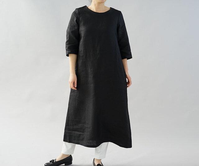 【wafu】中厚 リネン ワンピース ロング丈 ラウンドネック Aライン 7分袖 ドレス / ブラック a032d-bck2の画像1枚目