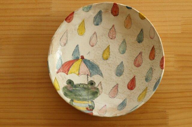 粉引きカラフルドロップとかえるのパスタ皿。の画像1枚目